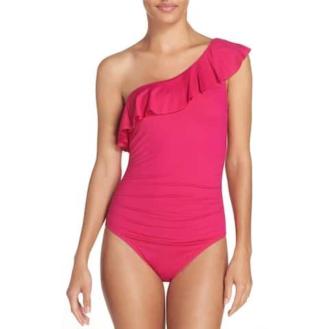 La Blanca Womens Flirtatious Ruffle One-Shoulder One-Piece Swimsuit 14 Fuchsia