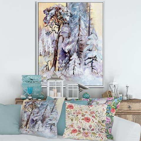 Designart 'Winter Snowy Forest By The Lake' Lake House Framed Canvas Wall Art Print