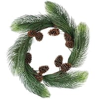 "30"" Long Pine Needle Artificial Christmas Wreath with Pine Cones - Unlit - green"