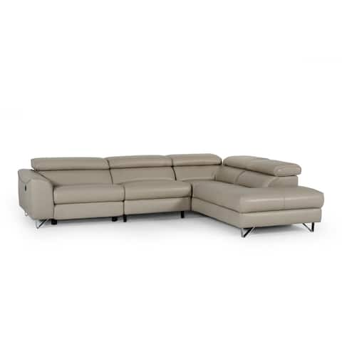 Divani Casa Versa Modern Light Taupe Eco-Leather RAF Chaise Sectional w/ Recliner
