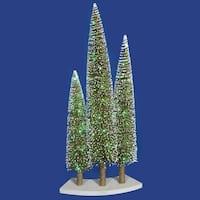 Pre-Lit LED Green & Gold Glitter Artificial Mini Village Christmas Tree Trio Set
