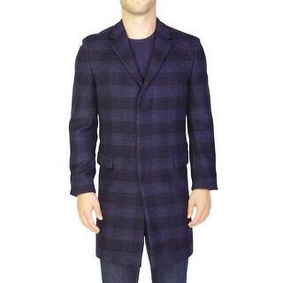 Prada Men's Virgin Wool Plaid Coat Jacket Black Navy Blue - 40