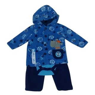 Bon BeBe Baby Boys Blue Dog Applique Hooded Jacket Bodysuit 3 Pc Pant Set