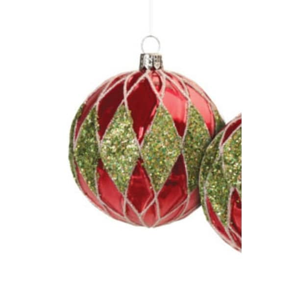 "Christmas Brites Red and Green Jeweled Diamond Glass Ball Ornament 3.5"" (90mm)"