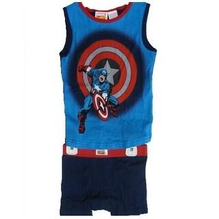 Marvel Little Boys Blue Captain America Tank Top Boxer Briefs 2 Pc Set 4-6