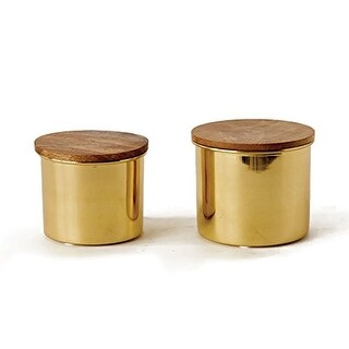 Creative Co-OpSet of 2Gold Metal Canisters Set with Mango Wood Lids
