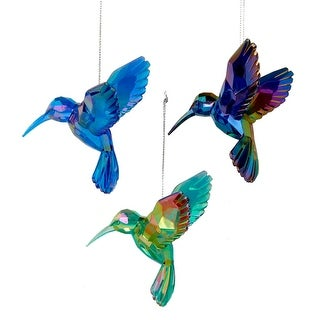 Green Blue and Purple Hummingbirds Christmas Holiday Ornaments Set of 3