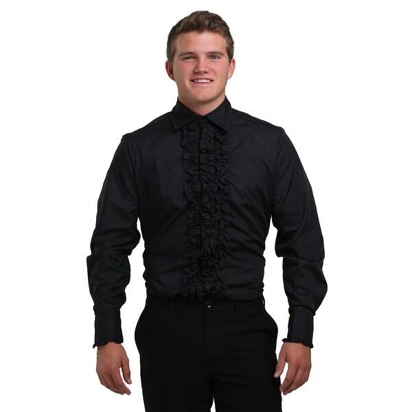 Black Ruffled Tuxedo Shirt