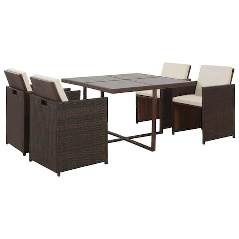 vidaXL 5 Piece Outdoor Dining Set with Cushions Poly Rattan Brown Chair Table