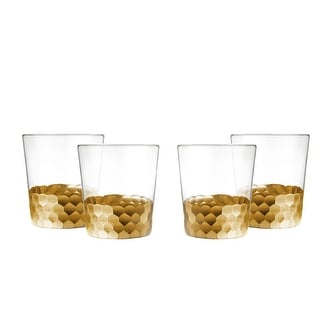 Fitz and Floyd Daphne Stemless Glasses Set of 4 Gold