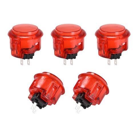 30mm Mounting Momentary Game Push Button Switch for Video Games 5 Colors 5pcs - Red - red-2pcs