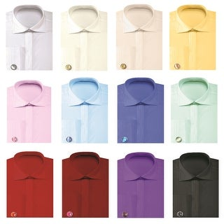 Men's Solid Pleated Collar French Cuff Shirt with Cufflinks (More options available)