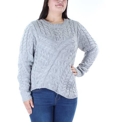 KIIND OF Womens Gray Textured Long Sleeve Jewel Neck Tunic Sweater Size: XL