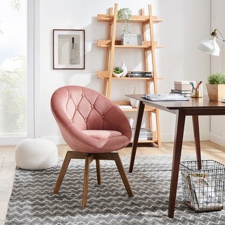 Link to Carson Carrington Kallax Velvet or PU Tufted Round Swivel Accent Chair Similar Items in Living Room Chairs