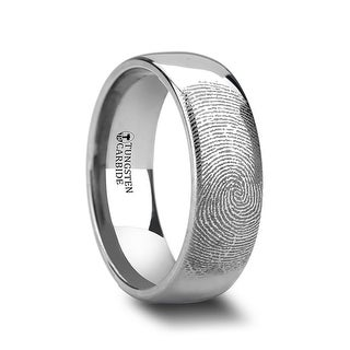 THORSTEN - Fingerprint Engraved Domed Tungsten Ring Polished