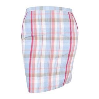 Anne Klein Women's Plaid Skirt (10, Bright Water Combo)