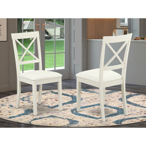 Boston X- back Chair with Faux Leather Seat (Set of 2)