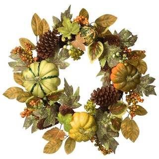 "Link to 22"" Harvest Pumpkins and Pine Cones Wreath Similar Items in Thanksgiving Decorations"