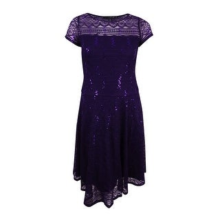 Sangria Women's Sangria Women's Petite Sequined Lace Fit & Flare Dress