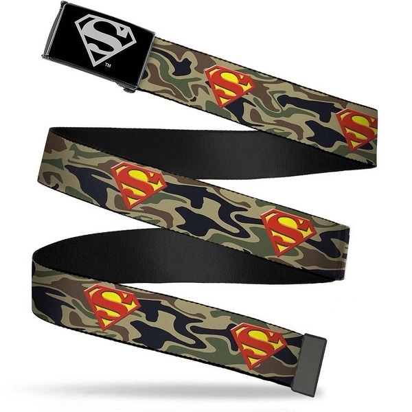Superman Reverse Brushed Silver Cam Superman Shield Camo Olive Webbing Web Belt