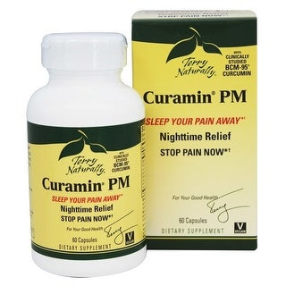 Terry Naturally Curamin PM Nighttime Pain Stop Pain Now - 60 Capsules - Sleep Your Pain Away - Melatonin - Boswelia
