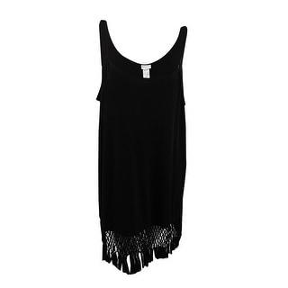 Dotti Women's Fringe-Trim Hardware Dress Cover-Up - Black