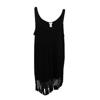 Dotti Women's Plus Macrame Fringe Cover-Up (Black, 1X) - Black - 1x