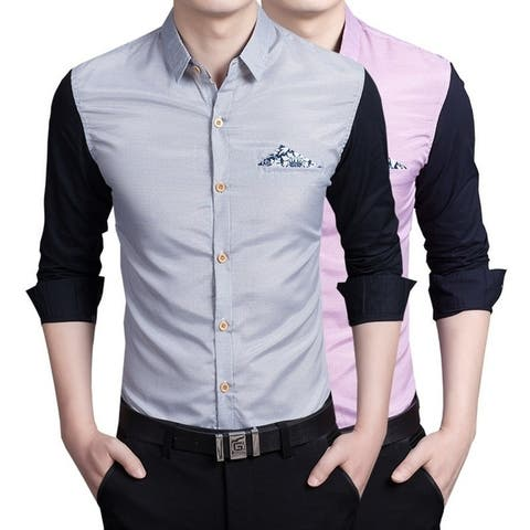 Spring Summer Men Fashion Slim Long Sleeve Shirt