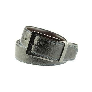 Robert Graham Mens Garrison Faux Leather Embossed Casual Belt