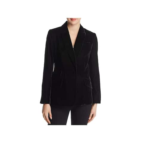 Badgley Mischka Womens Blazer Velvet Double Pocket