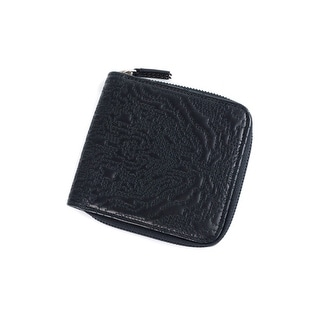 Roberto Cavalli Black Leather Abstract Pattern Zip Around Wallet - M