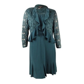 R&M Richards Women's 2PC Ruffle Trim Sequined Lace Jacket & Dress