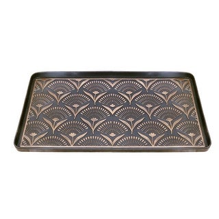 Floral Fans Rubber Boot Tray and Shoe Tray, Heavy Duty Footwear, Dog or Cat Bowl Mat Traps Mud, Water and Pet Food Mess