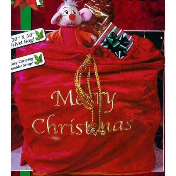 "30"" x 36"" Red Velveteen ""Merry Christmas"" Santa Sack with Braided Gold Drawstring"