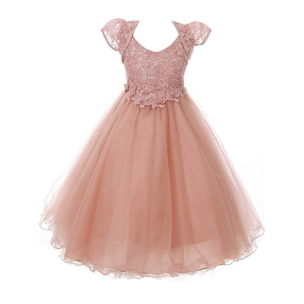 3f3add48b90 Chic Baby America Girls Dusty Rose Embroidered Junior Bridesmaid Dress