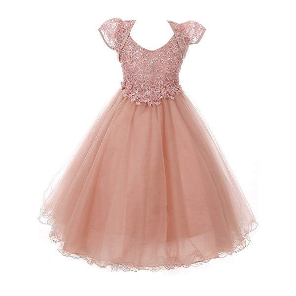e17413e696 Shop Chic Baby Little Girls Dusty Rose Sparkle Embroidery Flower ...