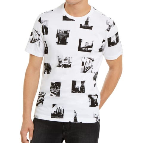 DKNY Mens T-Shirt White Black Size Medium M All Over City Graphic Tee