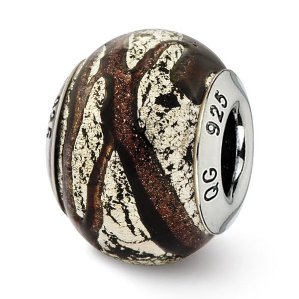 Italian Sterling Silver Reflections Brown & Silver Colored Glass Bead (4mm Diameter Hole)
