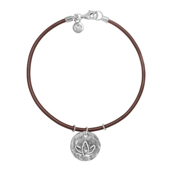 Hammered Lotus Flower Charm Bracelet in Sterling Silver and Leather - White