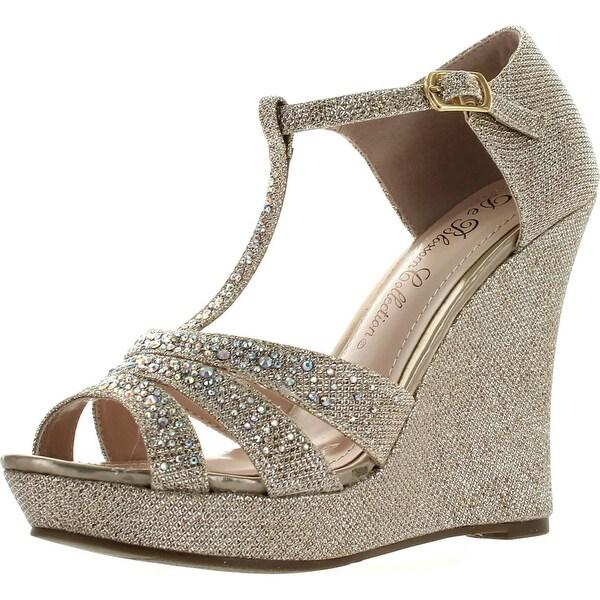 Deblossom Womens Dressy Glitter Rhinestone T Strap Platform Wedge Sandal Aalle-2