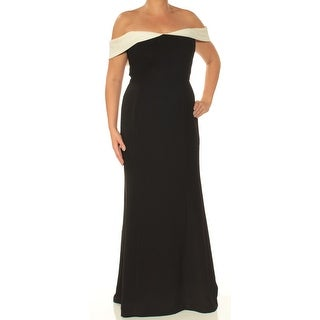 Womens Black Full-Length Fit + Flare Formal Dress Size: 12