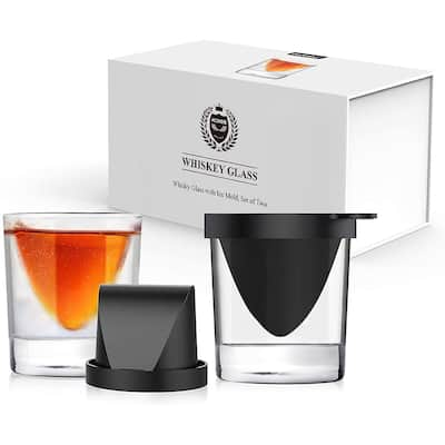 Kollea Whiskey Wedge Glasses with Silicone Ice Mold Set of 2 9 Oz