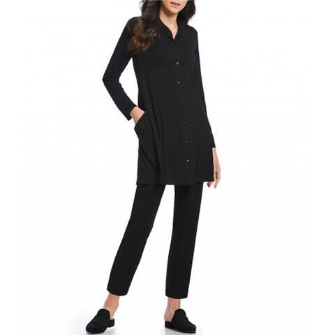 Eileen Fisher Women Mandarin Collar Tunic, Black, Small