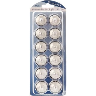 Battery Operated Submersible Tea Lights 12/Pkg-White - WHITE