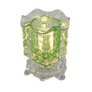 Green Faceted and Clear Glass Electric Scented Oil/Tart Warmer
