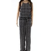 Diane von Furstenberg NEW Black Womens Size 6 Check-Print Jumpsuit