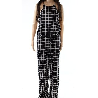 Diane von Furstenberg NEW Black Womens Size 6 Check-Print Jumpsuit