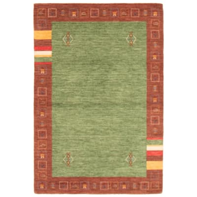 ECARPETGALLERY Hand Loomed Gabbeh Luribaft Green Wool Rug - 4'0 x 6'0
