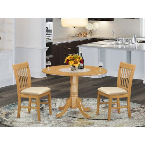 East West Furniture 3-Pc Dining Set - 1 Round Table and 2 Dinette Chairs (Chairs Option)