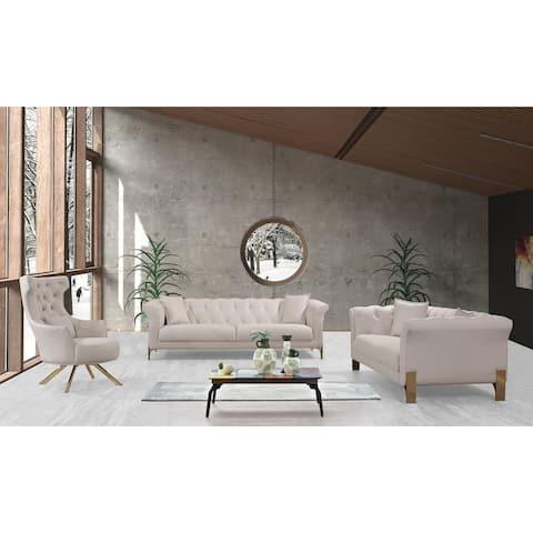 3 Pieces Living Room Set Cream